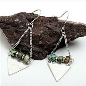 Earrings Dangles Silver Green Turquoise Wire USA